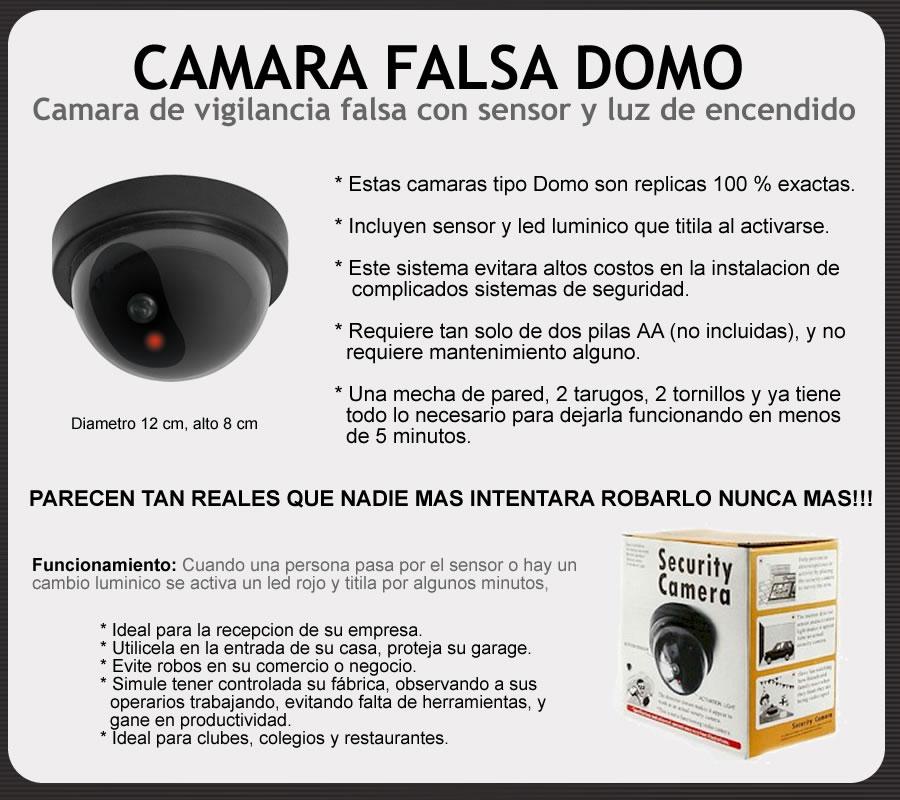 Falsa camara de seguridad vigilancia domo con sensor y luz - Camaras de seguridad falsas ...